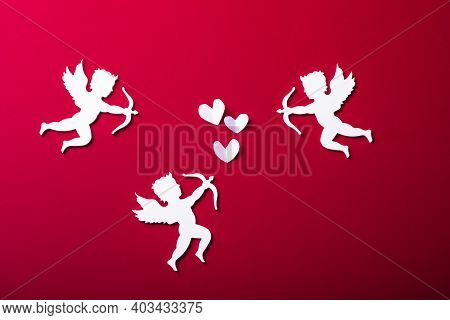Flying Cupid Silhouette,  Happy Valentine's Day Banners, Paper Art Style. Amour On Red Paper. Love C