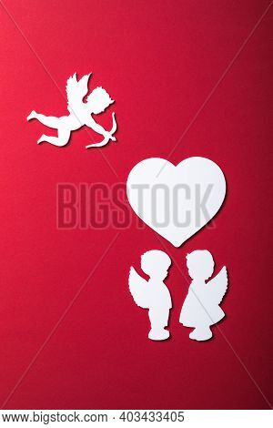 Flying Cupid Silhouette, Two White Angel,  Happy Valentine's Day Banners, Paper Art Style. Amour On