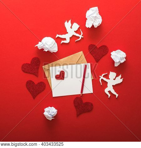 Happy Valentines Day Greeting Typography With Valentine Elements Of Letter, Gifts, Hearts On Red Pap