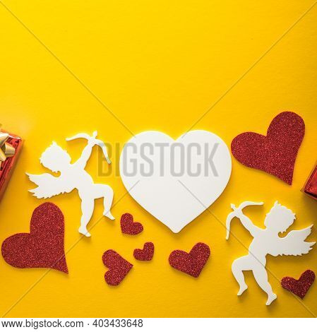 Flying Cupid Silhouette With Hearts, Happy Valentine's Day Banners, Paper Art Style. Amour On Yellow