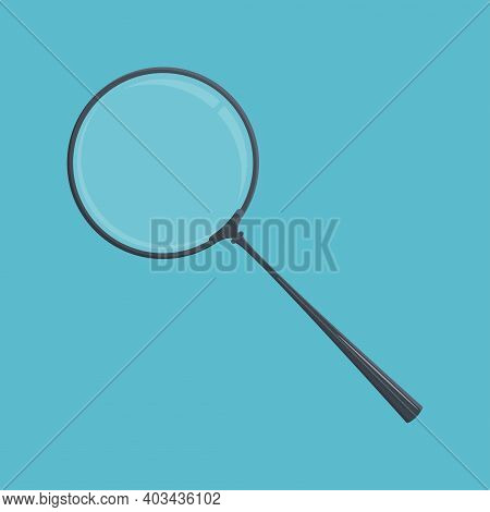 Magnifying Glass Icon. Loupe With Glass And Dark Blue Handle. Template For Mobile Or Web Apps. Bussi