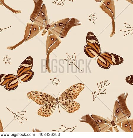 Seamless Pattern With Butterflies And Moths In Brown Palette. The Moth Is A Mystical Symbol And Tali