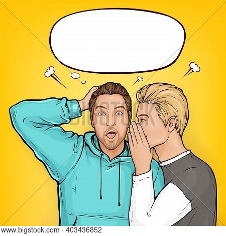 Vector Pop Art Blonde Haired Man Whispers About Sales Or Secrets To Ear Of Surprised Brown Guy In Ho