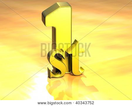 3D Word First On Gold Background