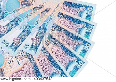 50 Sri Lankan Rupees Bills Lies Isolated On White Background With Copy Space Stacked In Fan Shape Cl