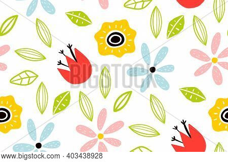Garden Flower, Plants , Botanical , Seamless Pattern Vector Design For Fashion. Cute Pattern In Smal