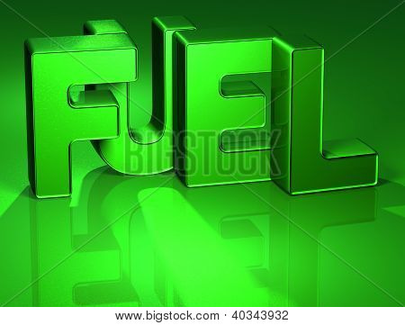 3D Word Fuel On Green Background