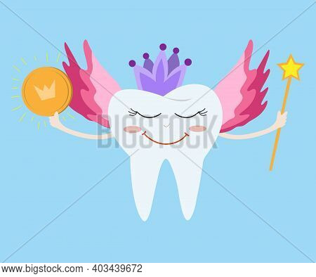 Tooth Fairy Wearing Crown And Holding A Star Magic Wand And Coin. The Tooth Fairy Smiles And Flies T
