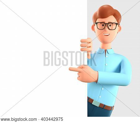 3d Illustration Of Happy Man Pointing Finger At Blank Presentation Or Information Board. Close Up Po