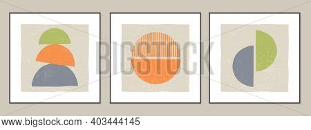 Set Of Geometric Abstract Backgrounds, Posters In Minimalist Style With Texture. Contemporary Art Is