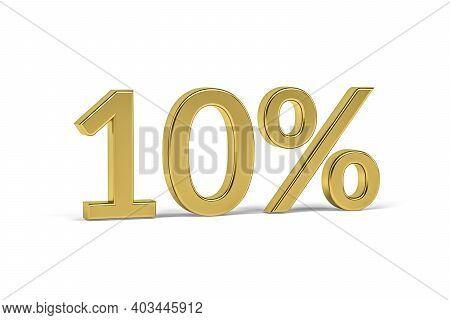 Gold Digit Ten With Percent Sign - 10% On White Background - 3d Render