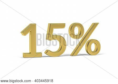 Gold Digit Fifteen With Percent Sign - 15% On White Background - 3d Render