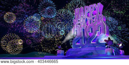 Happy New Year 2022 In Thick Letters On A Purple Monument-like Pedestal Illuminated By 4 Floodlights
