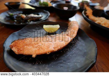 Grilled Salmon ,salmon Steak Or Yaki Sake