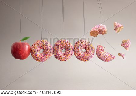 Apple And Dougnuts Collision Balls Diet Cravings Concept