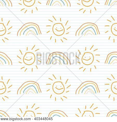 Cute Rainbow Scribble Rainbow Kids Doodle Background. Hand Drawn Whimsical Motif Seamless Pattern. N
