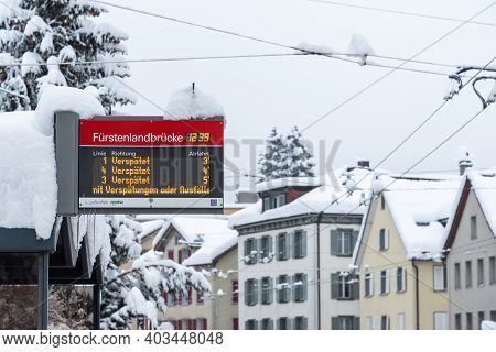 Sankt Gallen, Switzerland - January 15, 2021: Buses In Public Transport Delayed Due To Heavy Snowfal