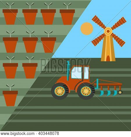 Vector Illustration Of Agriculture. The Beginning Of Planting The Crop. Agricultural Machinery And E