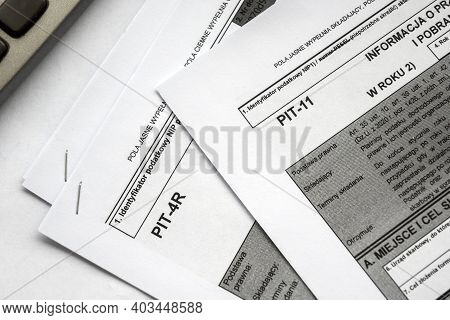 Income Polish Tax Form Pit-11 And Pit-4r. Tax Regulation. Translation From Polish: Annual Informatio