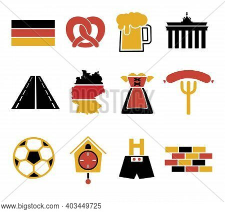 Vector Icons Set For Creating Infographics Related To Germany, Like Leather Trousers, Beer Mug, Pret