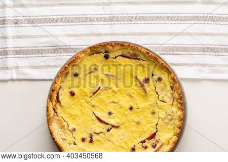 Sweet Cheese Pie With Apples And Cranberries