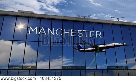 Airplane Landing At Manchester England Airport Mirrored In Terminal