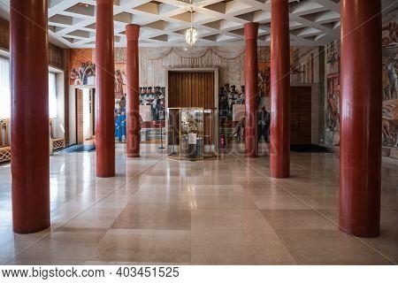 Padua, Italy - August 16 2020: Graduation Hall Of The Padova University In Palazzo Bo, Also Called B