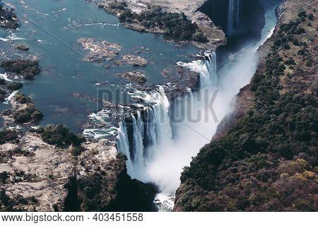 Victoria Falls Main Waterfall On The Zambezi River In Zimbabwe, Africa Also Called Mosi Oa Tunya, Ae