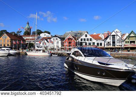 Stavanger, Norway - July 20, 2020: People Visit Borough Of Storhaug In Stavanger, Norway. Stavanger