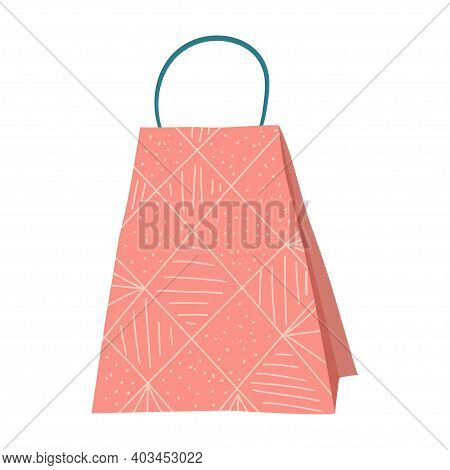 A Scandinavian Hug Style Shopping Bag Is Isolated On A White Background. Vector Illustration In Hand