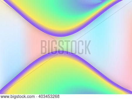 Fluid Dynamic. Vivid Gradient Mesh. Holographic 3d Backdrop With Modern Trendy Blend. Business Invit