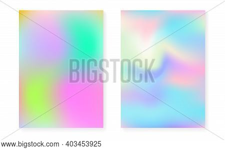 Holographic Cover Set With Hologram Gradient Background. 90s, 80s Retro Style. Iridescent Graphic Te