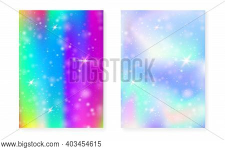 Kawaii Background With Rainbow Princess Gradient. Magic Unicorn Hologram. Holographic Fairy Set. Vib