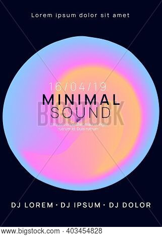 Music Poster. Electronic Sound. Night Dance Lifestyle Holiday. Fluid Holographic Gradient Shape And