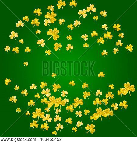 Shamrock Background For Saint Patricks Day. Lucky Trefoil Confetti. Glitter Frame Of Clover Leaves.