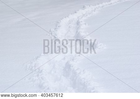 Pathway And Foot Prints In The Deep Fresh Snow