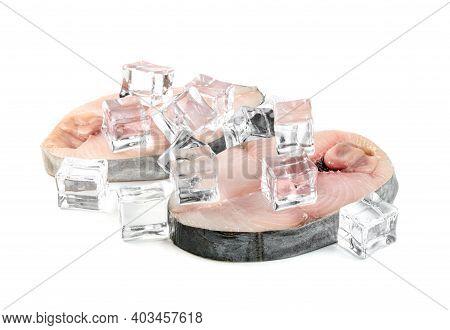 Spanish Mackerel Slice Or Spotted Mackerels With Ice Cube Isolated On White Background ,scomberomoru