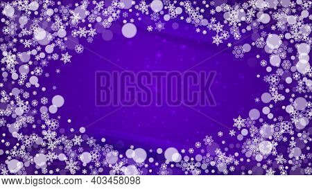 Xmas Theme Sales With Ultra Violet Snowflakes. New Year Backdrop. Snow Frame For Gift Coupons, Vouch