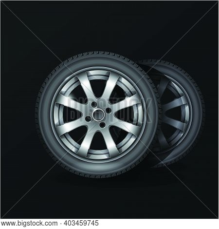 Tire Fitting Service Poster, Car Wheel Tyre With Alloy Wheel Rim On Black Background, Vector