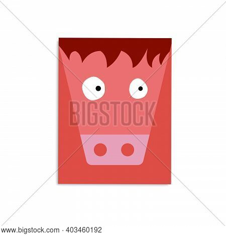 Funny Card With A Bull. Template For Printing. Decoration Element. Pensive Bull.
