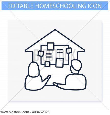 Homeschooling Curriculum Line Icon. Parents Determine The Curriculum Of Their Children. Online Educa