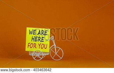 Help Is Here Symbol. Wooden Clothespin With Yellow Paper. Words 'we Are Here For You'. Miniature Bic