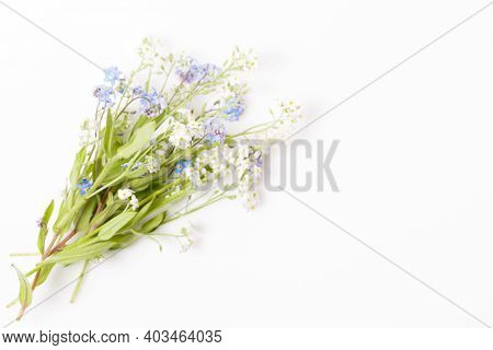 Beautiful Bouquet Blue And White Flowers Forget Me Not On White Background