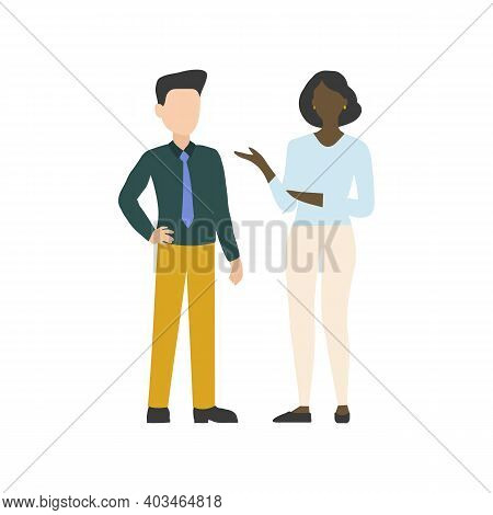 The Man Talking To A Woman. Two People Talking Business. Vector Illustration. Eps10