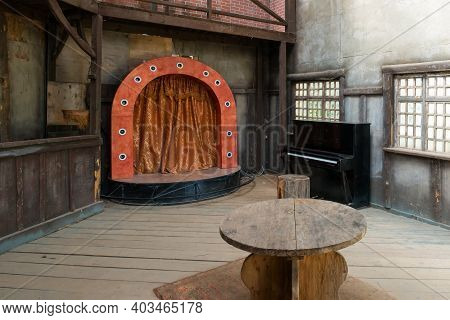 Interior Of An Old Tavern And A Stage For Performances