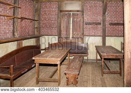 Interior Of An Old Tavern With Empty Tables