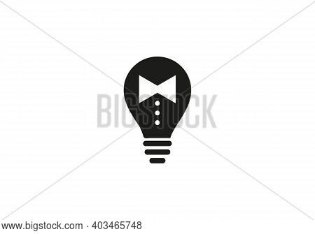 Tie And Bulb Logo Vector Illustration On White Background. Tie Icon In Trendy Style Isolated