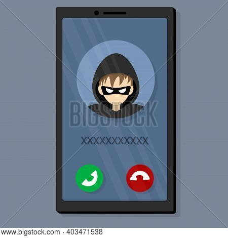 Incoming Call From A Scammer. A Villain, A Thief, Wants To Steal Personal Data And Money.