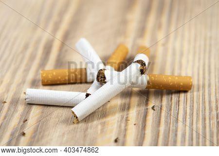 Quit Smoking Cigarette Concept. Broken Cigarettes. Quit Bad Habit, Health Care Concept. I Do Not Smo