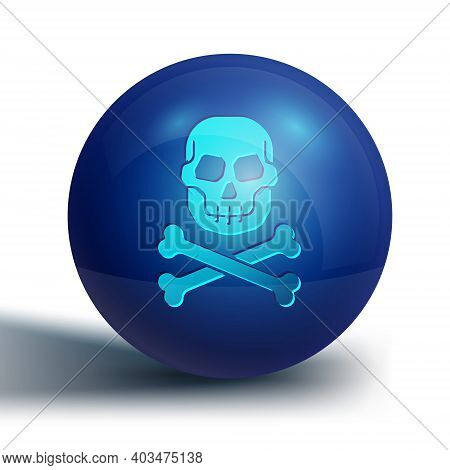 Blue Skull On Crossbones Icon Isolated On White Background. Happy Halloween Party. Blue Circle Butto